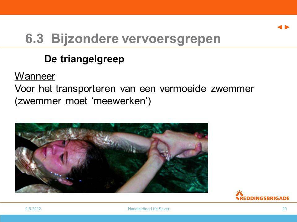Handleiding Life Saver29 6.3 Bijzondere vervoersgrepen De triangelgreep Wanneer Voor het transporteren van een vermoeide zwemmer (zwemmer moet 'meewer