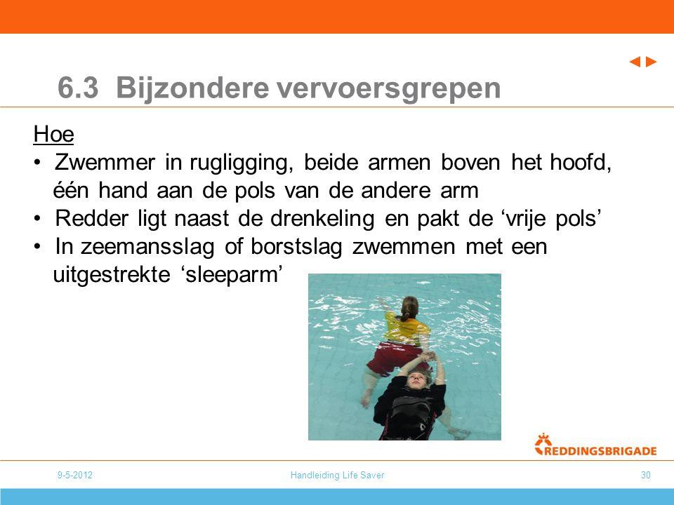Handleiding Life Saver30 6.3 Bijzondere vervoersgrepen Hoe Zwemmer in rugligging, beide armen boven het hoofd, één hand aan de pols van de andere arm