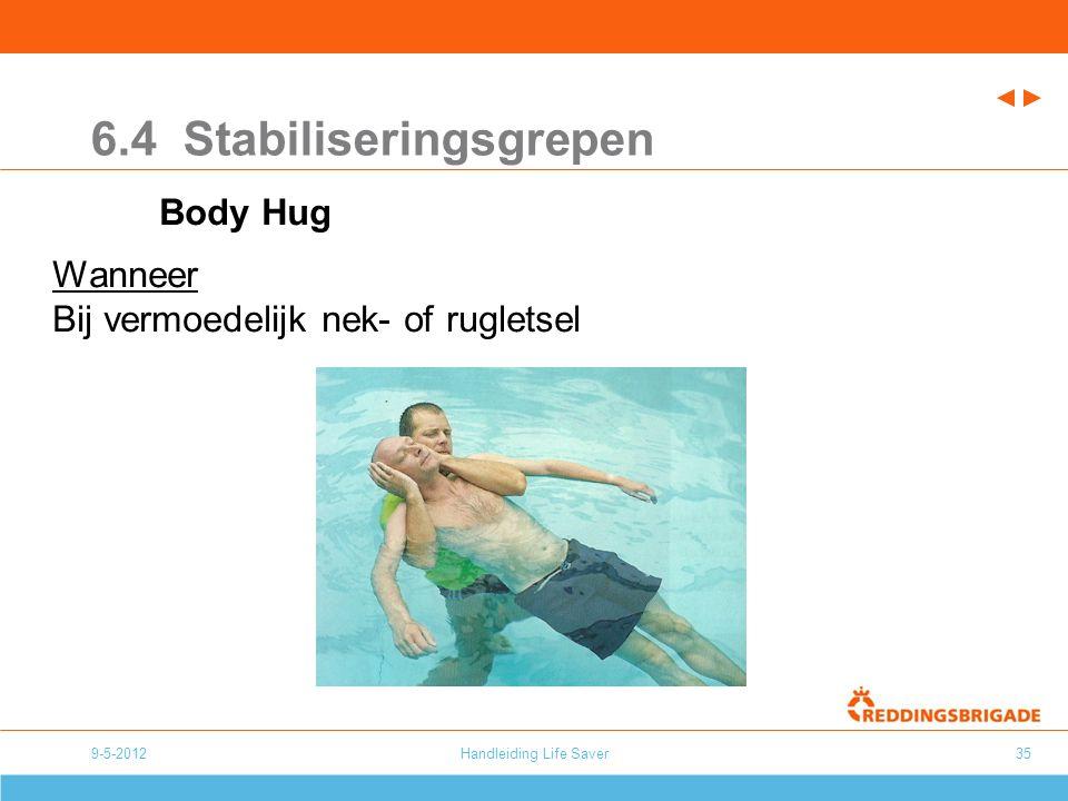 Handleiding Life Saver35 6.4 Stabiliseringsgrepen Body Hug Wanneer Bij vermoedelijk nek- of rugletsel 9-5-2012