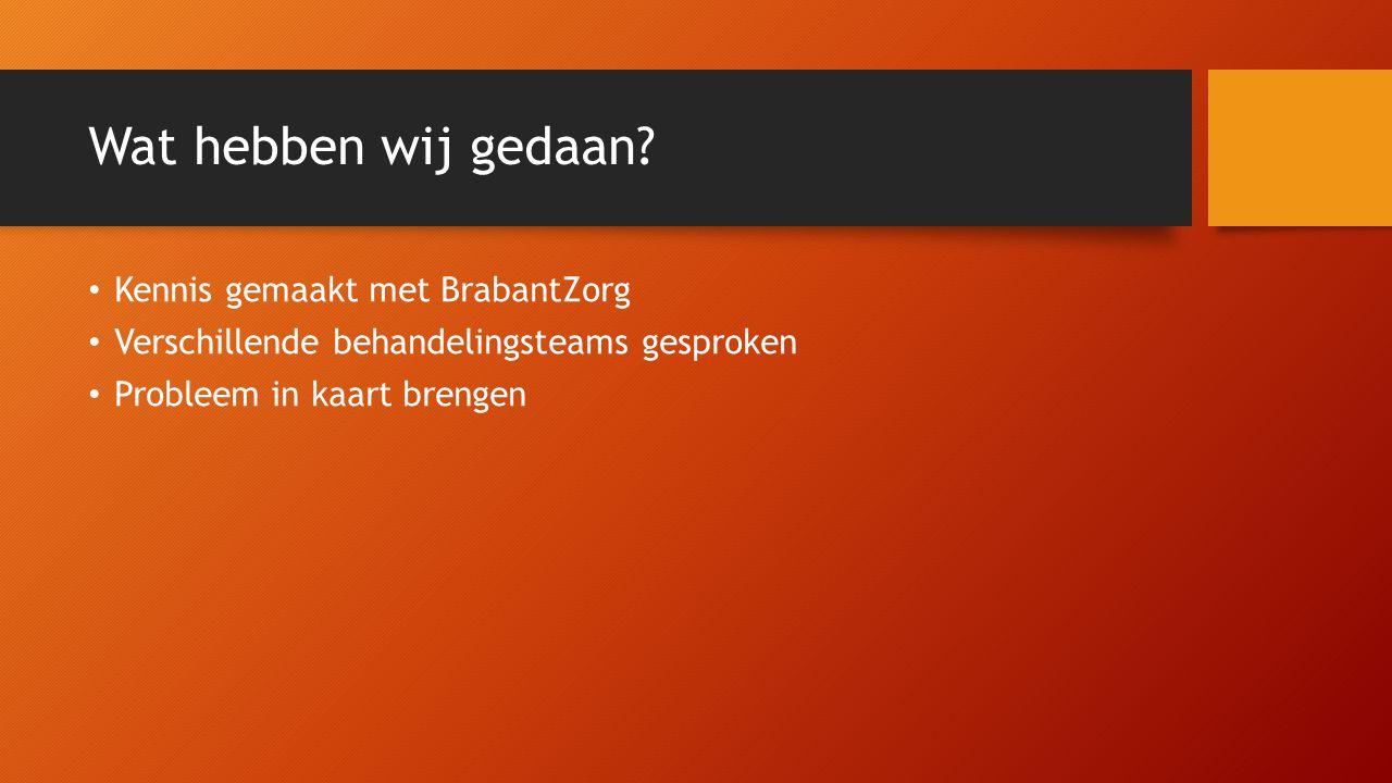 Wat hebben wij gedaan? Kennis gemaakt met BrabantZorg Verschillende behandelingsteams gesproken Probleem in kaart brengen