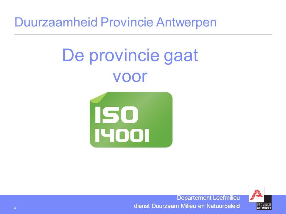 3 Departement Leefmilieu dienst Duurzaam Milieu en Natuurbeleid De provincie gaat voor Duurzaamheid Provincie Antwerpen