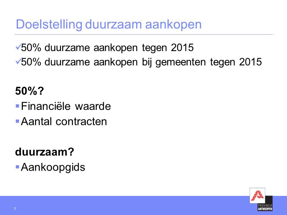 7 Doelstelling duurzaam aankopen 50% duurzame aankopen tegen 2015 50% duurzame aankopen bij gemeenten tegen 2015 50%.