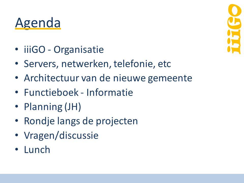 iiiGO Agenda iiiGO - Organisatie Servers, netwerken, telefonie, etc Architectuur van de nieuwe gemeente Functieboek - Informatie Planning (JH) Rondje langs de projecten Vragen/discussie Lunch