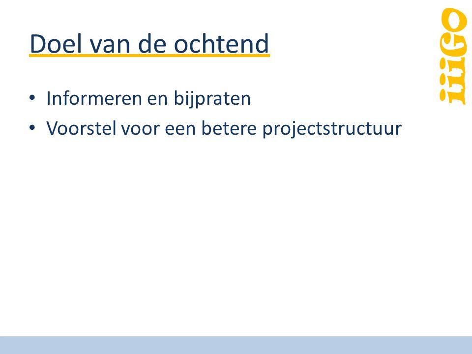 iiiGO Doel van de ochtend Informeren en bijpraten Voorstel voor een betere projectstructuur