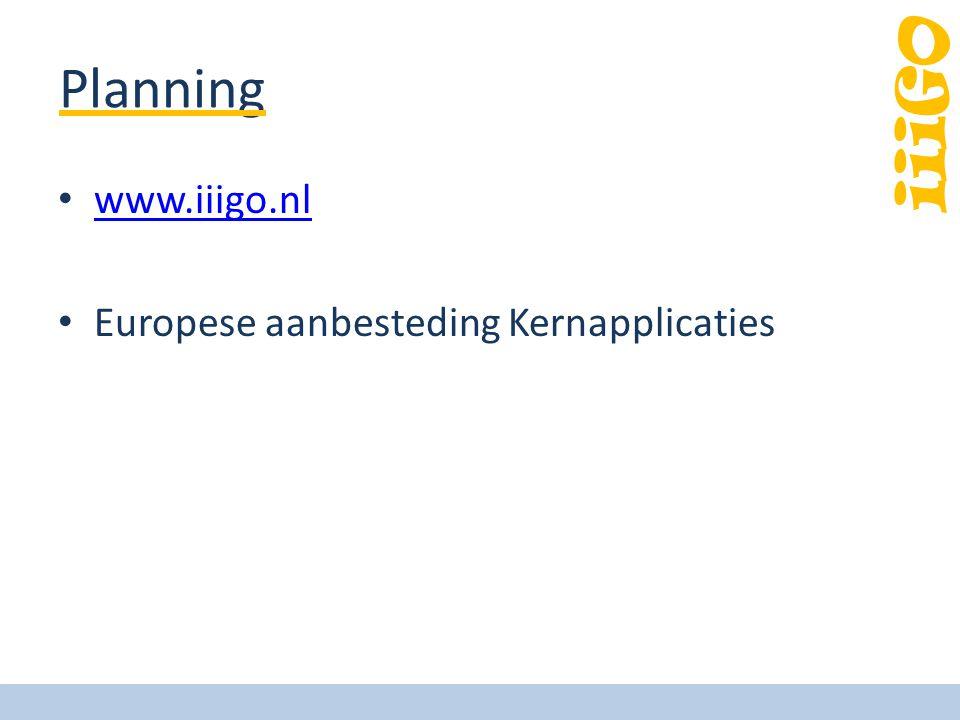 iiiGO Planning www.iiigo.nl Europese aanbesteding Kernapplicaties