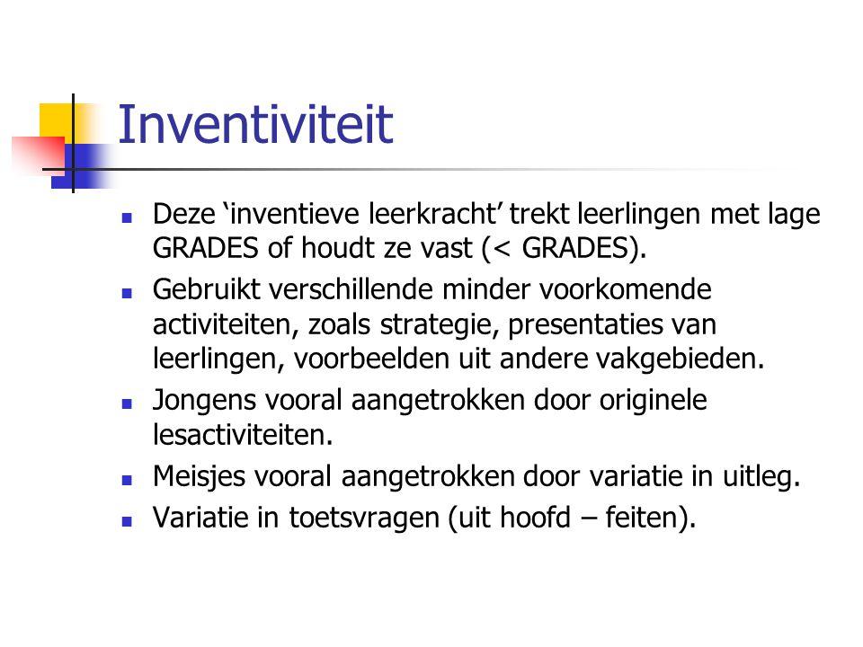 Inventiviteit Deze 'inventieve leerkracht' trekt leerlingen met lage GRADES of houdt ze vast (< GRADES). Gebruikt verschillende minder voorkomende act