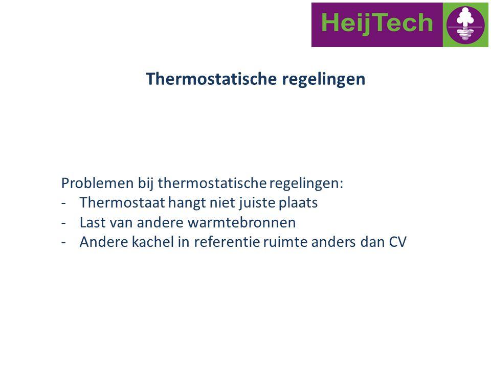 Problemen bij thermostatische regelingen: -Thermostaat hangt niet juiste plaats -Last van andere warmtebronnen -Andere kachel in referentie ruimte and