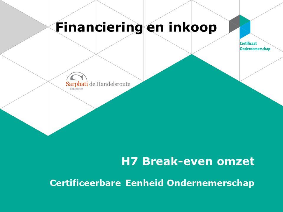Financiering en inkoop H7 Break-even omzet Certificeerbare Eenheid Ondernemerschap