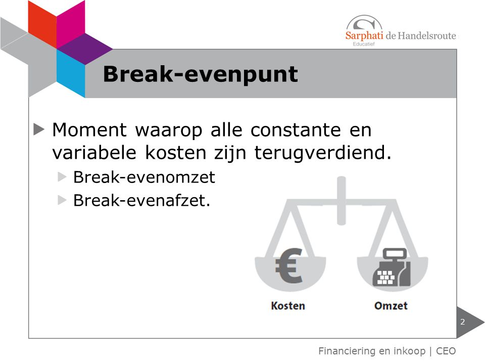 Moment waarop alle constante en variabele kosten zijn terugverdiend. Break-evenomzet Break-evenafzet. Financiering en inkoop | CEO Break-evenpunt 2