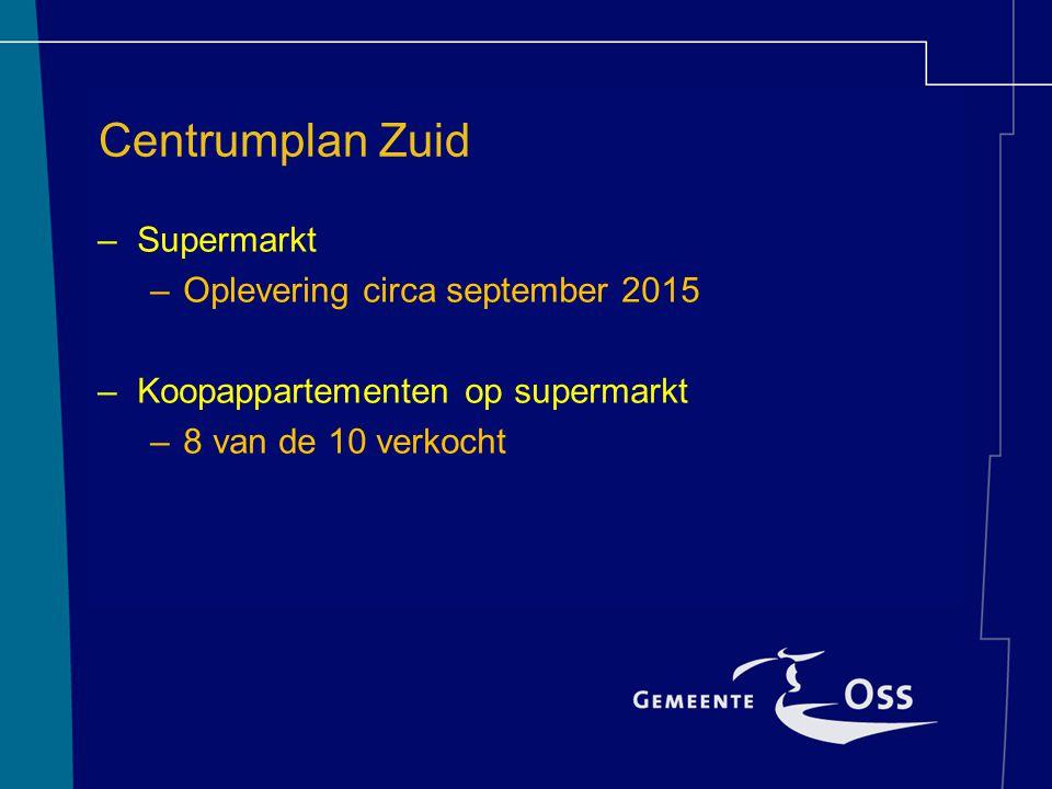 Centrumplan Zuid –Supermarkt –Oplevering circa september 2015 –Koopappartementen op supermarkt –8 van de 10 verkocht