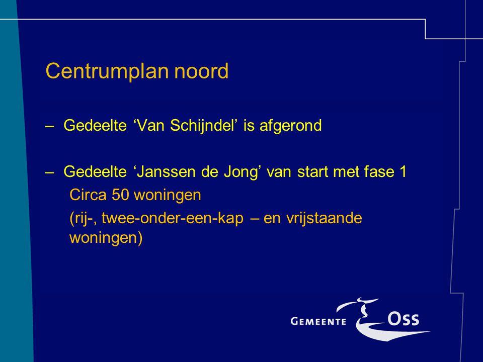 Centrumplan noord –Gedeelte 'Van Schijndel' is afgerond –Gedeelte 'Janssen de Jong' van start met fase 1 Circa 50 woningen (rij-, twee-onder-een-kap – en vrijstaande woningen)