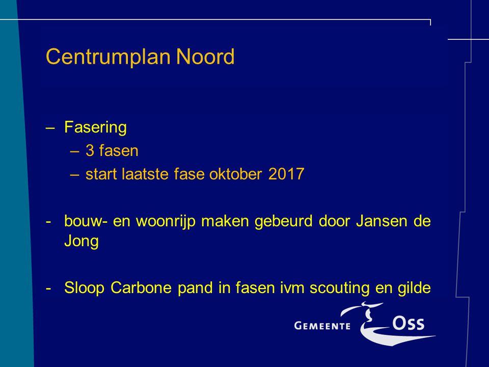 Centrumplan Noord Fase 2 –Fasering –3 fasen –start laatste fase oktober 2017 -bouw- en woonrijp maken gebeurd door Jansen de Jong -Sloop Carbone pand in fasen ivm scouting en gilde