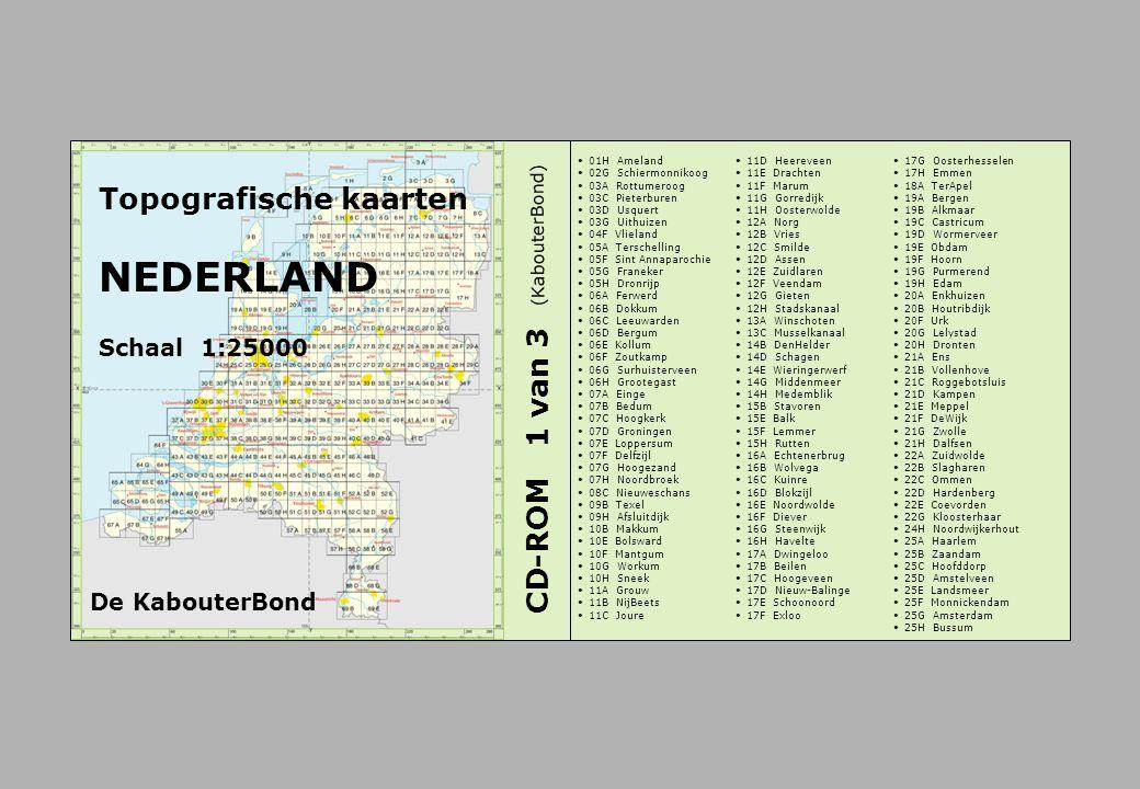 Topografische kaarten NEDERLAND Schaal 1:25000 CD-ROM 1 van 3 01H Ameland 02G Schiermonnikoog 03A Rottumeroog 03C Pieterburen 03D Usquert 03G Uithuize