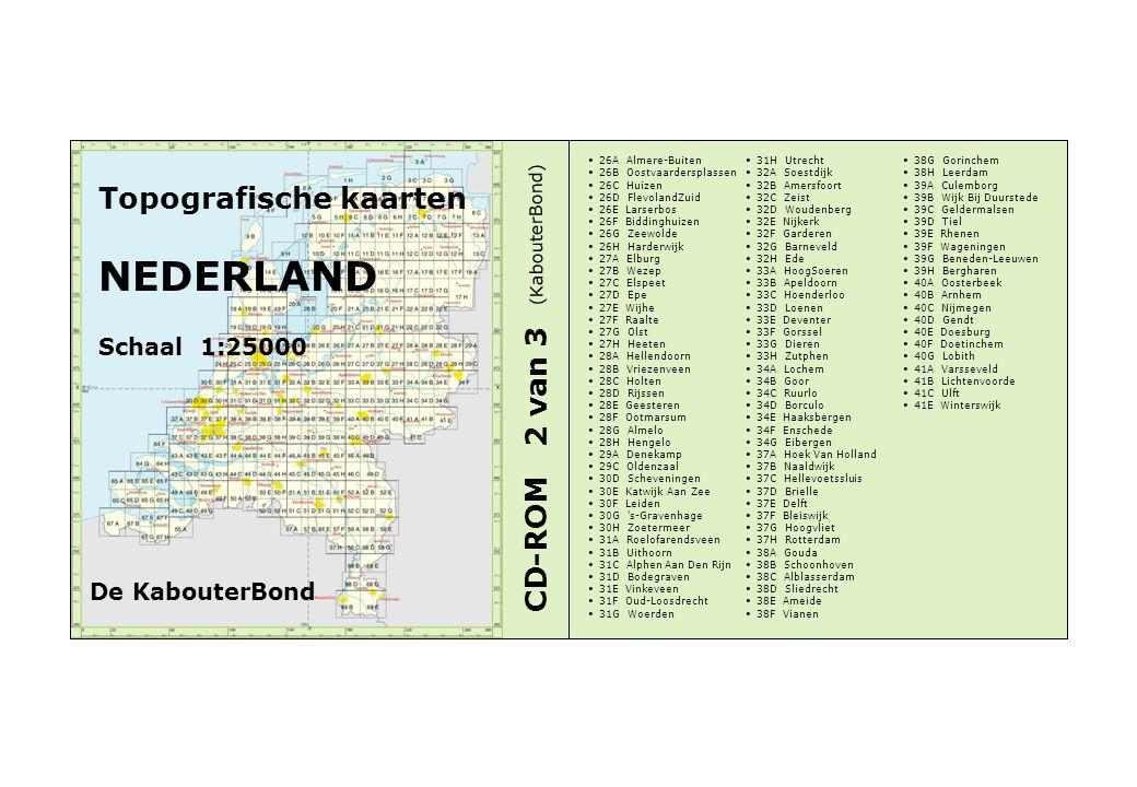 Topografische kaarten NEDERLAND Schaal 1:25000 CD-ROM 2 van 3 26A Almere-Buiten 26B Oostvaardersplassen 26C Huizen 26D FlevolandZuid 26E Larserbos 26F