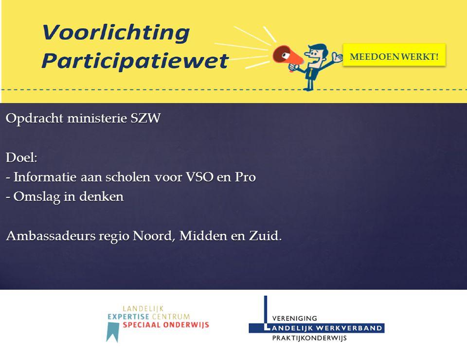 Opdracht ministerie SZW Doel: - Informatie aan scholen voor VSO en Pro - Omslag in denken Ambassadeurs regio Noord, Midden en Zuid. MEEDOEN WERKT!