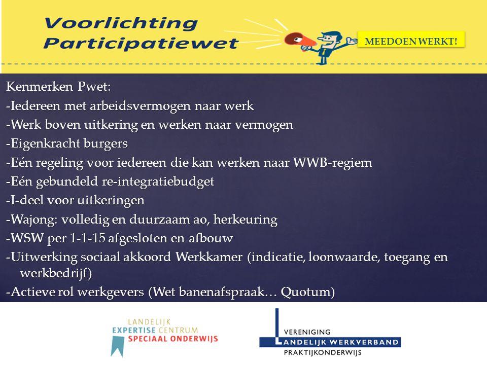 Kenmerken Pwet: -Iedereen met arbeidsvermogen naar werk -Werk boven uitkering en werken naar vermogen -Eigenkracht burgers -Eén regeling voor iedereen die kan werken naar WWB-regiem -Eén gebundeld re-integratiebudget -I-deel voor uitkeringen -Wajong: volledig en duurzaam ao, herkeuring -WSW per 1-1-15 afgesloten en afbouw -Uitwerking sociaal akkoord Werkkamer (indicatie, loonwaarde, toegang en werkbedrijf) -Actieve rol werkgevers (Wet banenafspraak… Quotum) MEEDOEN WERKT!