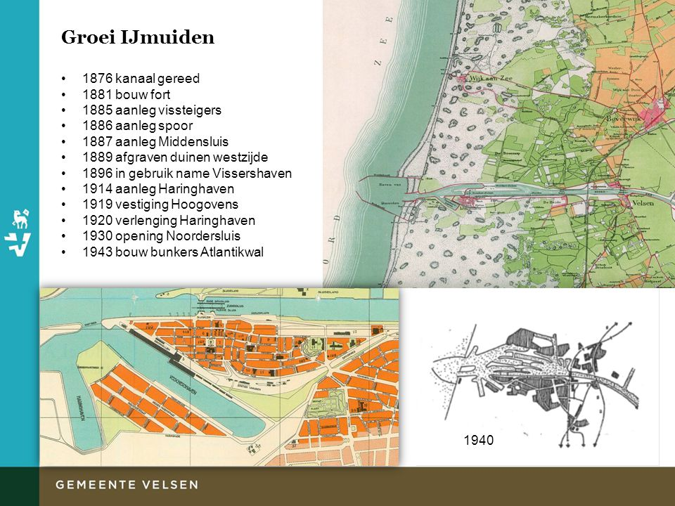 IJmuiden voor de oorlog Bruisende havenplaats Kenmerkend straatpatroon Verhoogde ligging