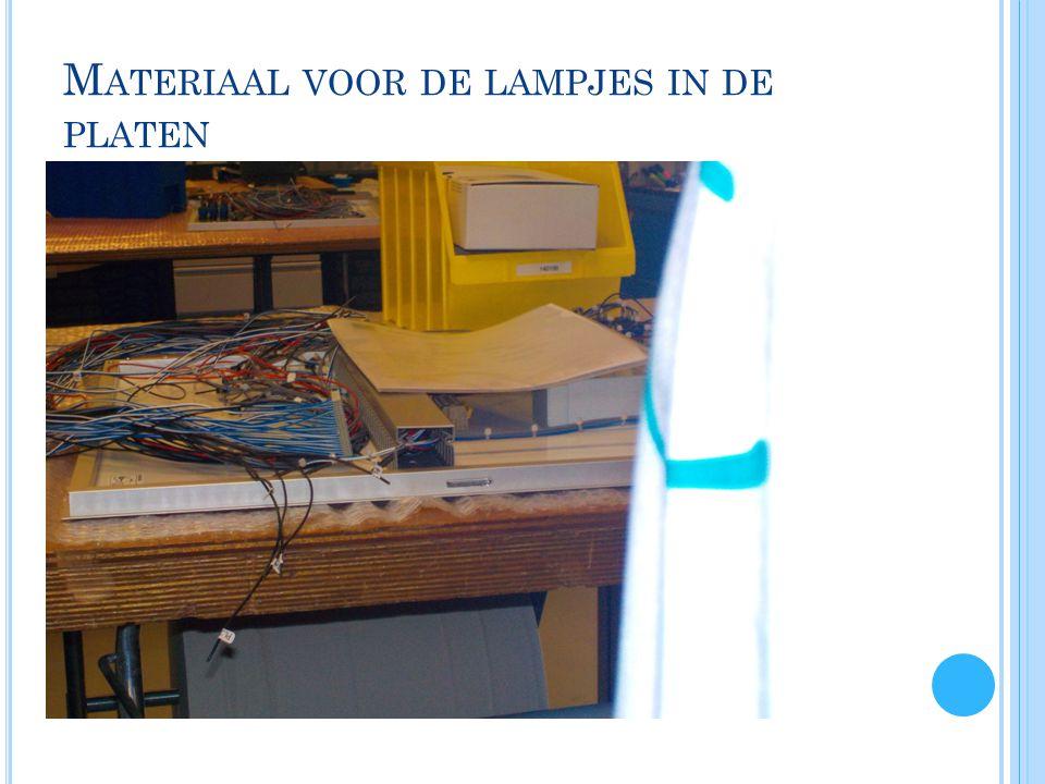 M ATERIAAL VOOR DE LAMPJES IN DE PLATEN