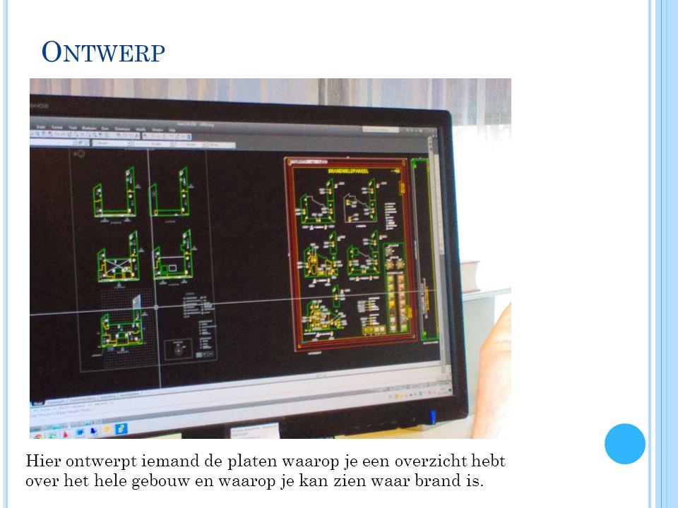 O NTWERP Hier ontwerpt iemand de platen waarop je een overzicht hebt over het hele gebouw en waarop je kan zien waar brand is.