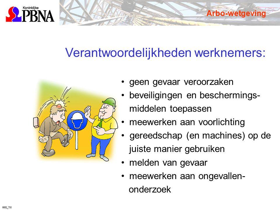 6652_700 Verantwoordelijkheden werknemers: geen gevaar veroorzaken beveiligingen en beschermings- middelen toepassen meewerken aan voorlichting gereed