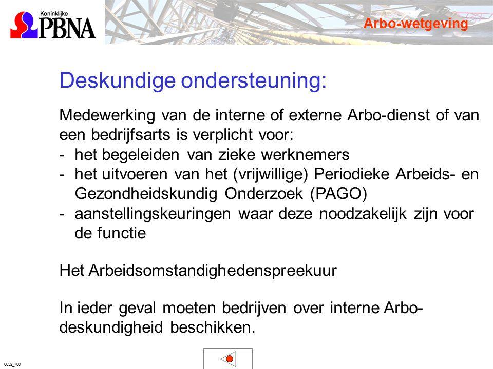 6652_700 Deskundige ondersteuning: Medewerking van de interne of externe Arbo-dienst of van een bedrijfsarts is verplicht voor: -het begeleiden van zi