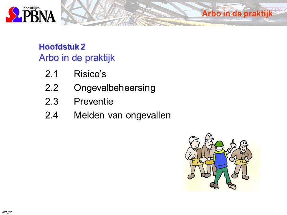 6652_700 Hoofdstuk 2 Arbo in de praktijk Hoofdstuk 2 Arbo in de praktijk 2.1Risico's 2.2Ongevalbeheersing 2.3Preventie 2.4Melden van ongevallen Arbo i