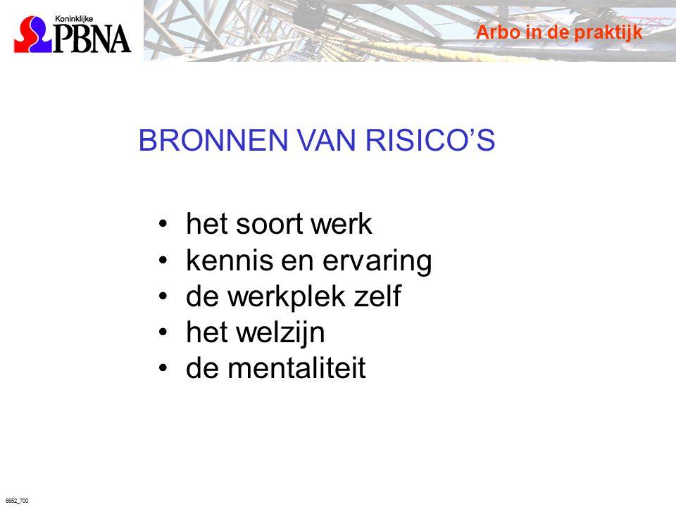 6652_700 BRONNEN VAN RISICO'S het soort werk kennis en ervaring de werkplek zelf het welzijn de mentaliteit Arbo in de praktijk