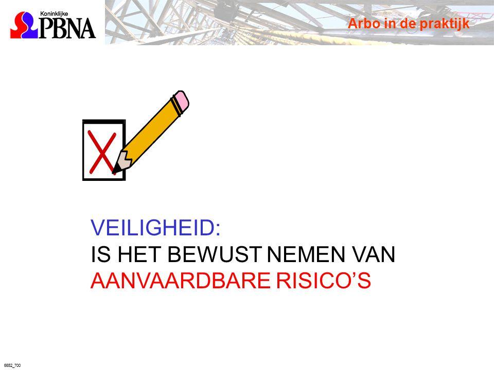 6652_700 VEILIGHEID: IS HET BEWUST NEMEN VAN AANVAARDBARE RISICO'S Arbo in de praktijk