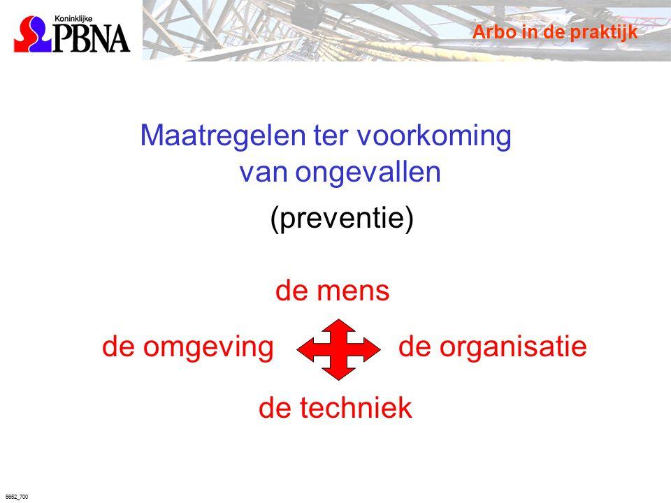6652_700 Maatregelen ter voorkoming van ongevallen (preventie) de mens de organisatie de techniek de omgeving Arbo in de praktijk