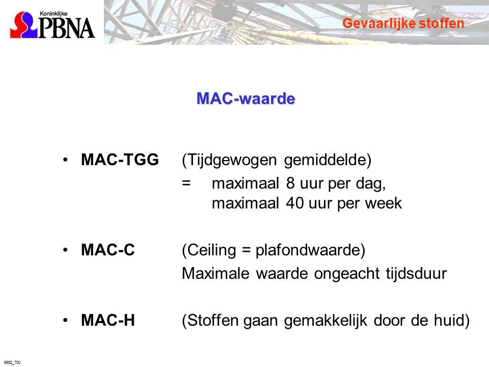 6652_700 MAC-waarde MAC-TGG(Tijdgewogen gemiddelde) =maximaal 8 uur per dag, maximaal 40 uur per week MAC-C(Ceiling = plafondwaarde) Maximale waarde o