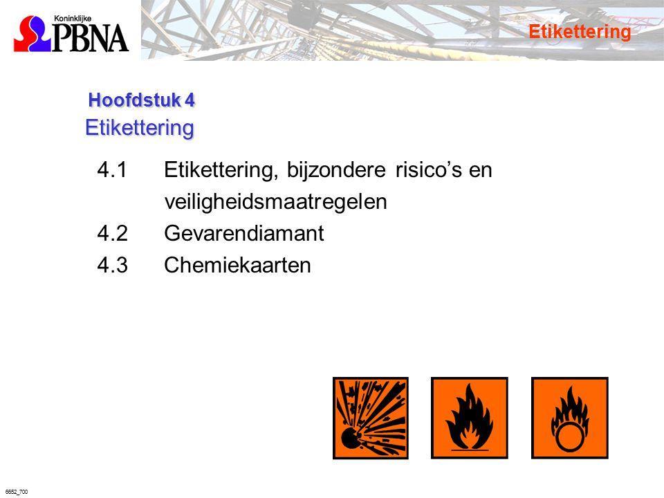 6652_700 Hoofdstuk 4 Etikettering Hoofdstuk 4 Etikettering 4.1Etikettering, bijzondere risico's en veiligheidsmaatregelen 4.2Gevarendiamant 4.3Chemiek