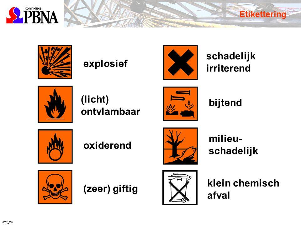 6652_700 (licht) ontvlambaar explosief bijtendoxiderend schadelijk irriterend (zeer) giftig milieu- schadelijk Etikettering klein chemisch afval