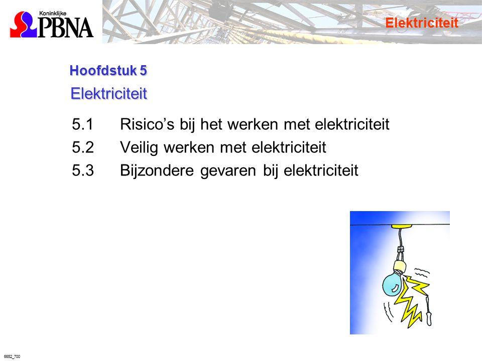 6652_700 Hoofdstuk 5 Elektriciteit Hoofdstuk 5 Elektriciteit 5.1Risico's bij het werken met elektriciteit 5.2Veilig werken met elektriciteit 5.3Bijzon