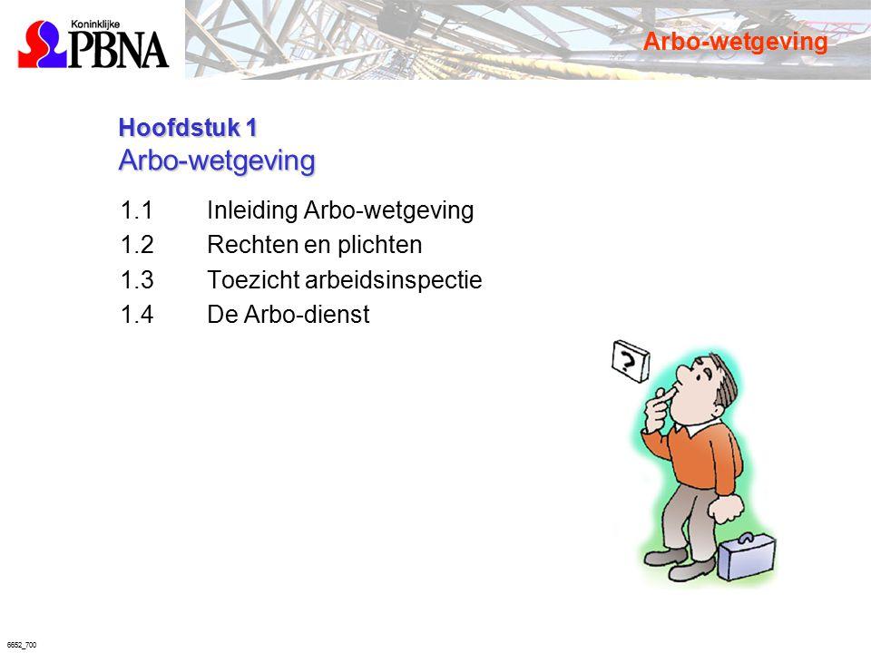 6652_700 Hoofdstuk 1 Arbo-wetgeving Hoofdstuk 1 Arbo-wetgeving 1.1Inleiding Arbo-wetgeving 1.2Rechten en plichten 1.3Toezicht arbeidsinspectie 1.4De A