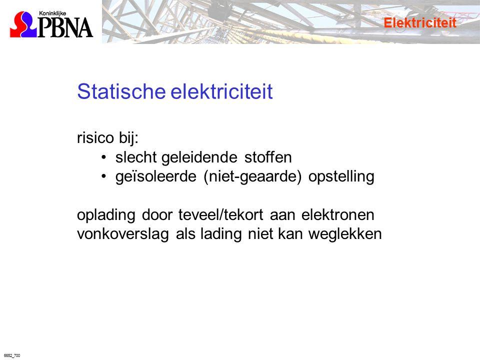 6652_700 Statische elektriciteit risico bij: slecht geleidende stoffen geïsoleerde (niet-geaarde) opstelling oplading door teveel/tekort aan elektrone