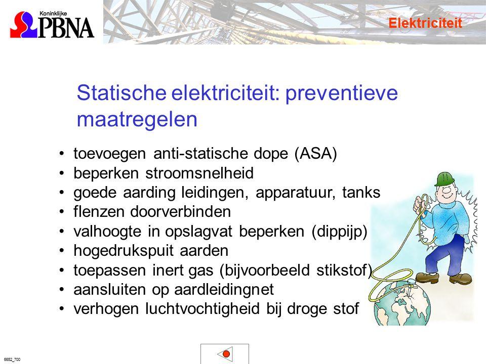 6652_700 Statische elektriciteit: preventieve maatregelen Elektriciteit toevoegen anti-statische dope (ASA) beperken stroomsnelheid goede aarding leid