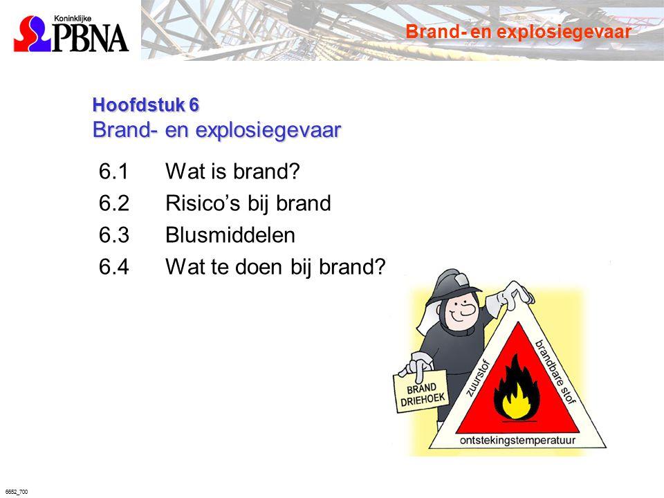 6652_700 Hoofdstuk 6 Brand- en explosiegevaar Hoofdstuk 6 Brand- en explosiegevaar 6.1Wat is brand? 6.2Risico's bij brand 6.3Blusmiddelen 6.4Wat te do