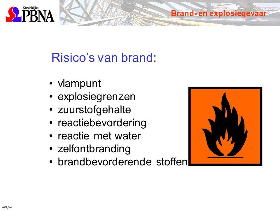 6652_700 Risico's van brand: vlampunt explosiegrenzen zuurstofgehalte reactiebevordering reactie met water zelfontbranding brandbevorderende stoffen B