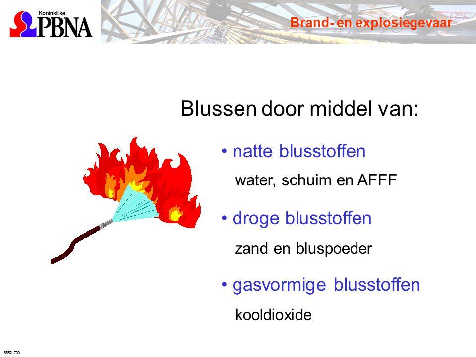6652_700 Blussen door middel van: natte blusstoffen droge blusstoffen gasvormige blusstoffen water, schuim en AFFF zand en bluspoeder kooldioxide Bran