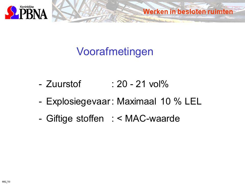 6652_700 Voorafmetingen -Zuurstof: 20 - 21 vol% -Explosiegevaar: Maximaal 10 % LEL -Giftige stoffen: < MAC-waarde Werken in besloten ruimten