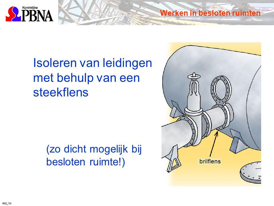6652_700 brilflens Isoleren van leidingen met behulp van een steekflens (zo dicht mogelijk bij besloten ruimte!) Werken in besloten ruimten