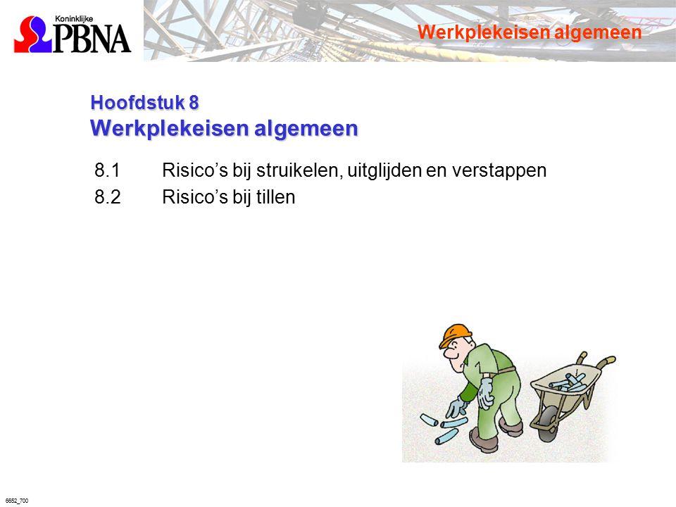 6652_700 Hoofdstuk 8 Werkplekeisen algemeen Hoofdstuk 8 Werkplekeisen algemeen 8.1Risico's bij struikelen, uitglijden en verstappen 8.2Risico's bij ti