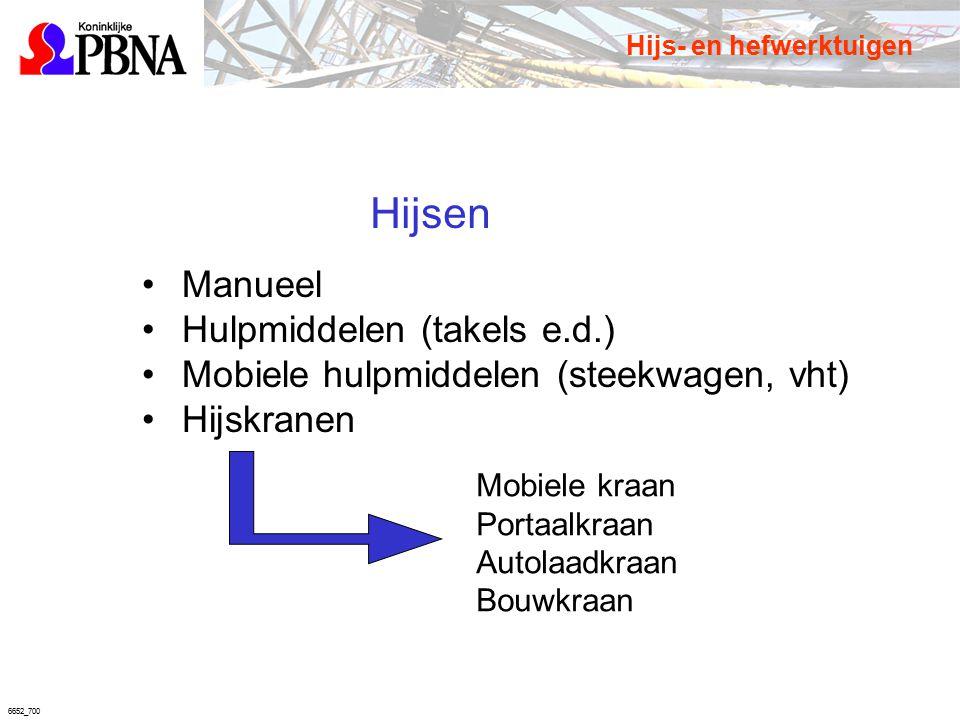 6652_700 Hijsen Manueel Hulpmiddelen (takels e.d.) Mobiele hulpmiddelen (steekwagen, vht) Hijskranen Mobiele kraan Portaalkraan Autolaadkraan Bouwkraa