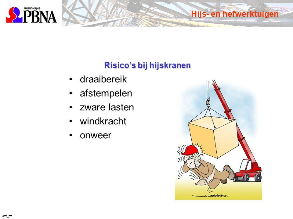 6652_700 Risico's bij hijskranen draaibereik afstempelen zware lasten windkracht onweer Hijs- en hefwerktuigen