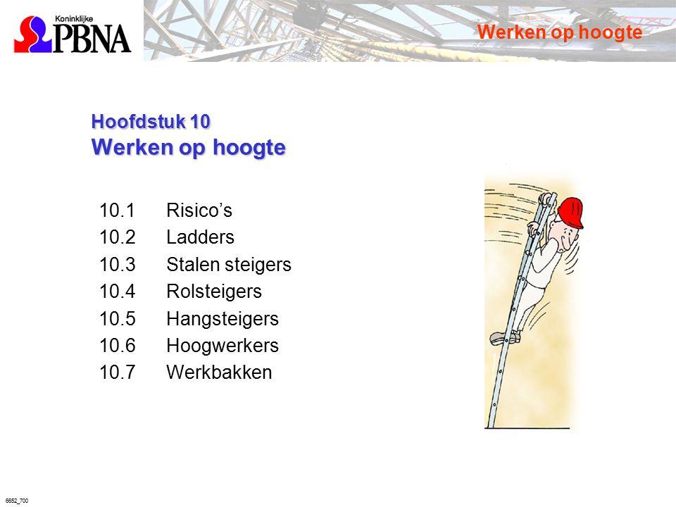 6652_700 Hoofdstuk 10 Werken op hoogte Hoofdstuk 10 Werken op hoogte 10.1Risico's 10.2Ladders 10.3Stalen steigers 10.4Rolsteigers 10.5Hangsteigers 10.