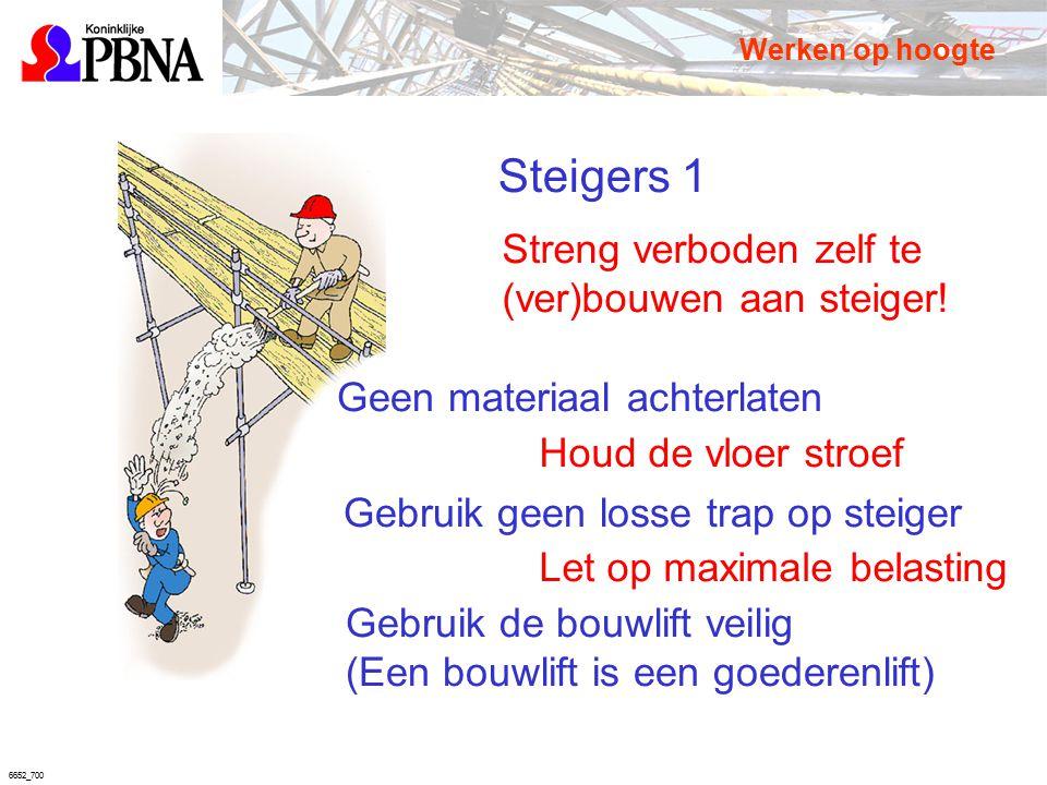 6652_700 Steigers 1 Streng verboden zelf te (ver)bouwen aan steiger! Houd de vloer stroef Let op maximale belasting Werken op hoogte Geen materiaal ac