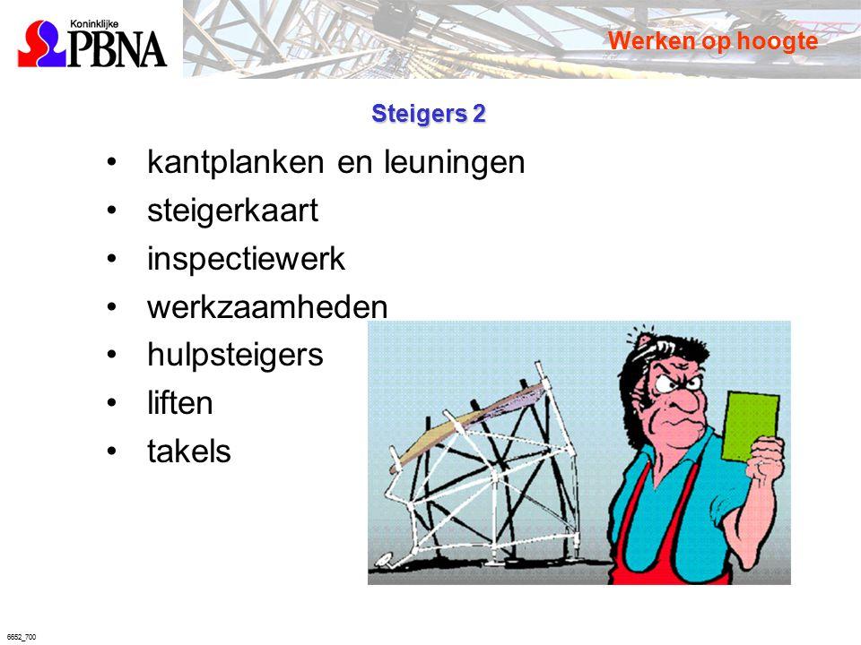 6652_700 Steigers 2 kantplanken en leuningen steigerkaart inspectiewerk werkzaamheden hulpsteigers liften takels Werken op hoogte