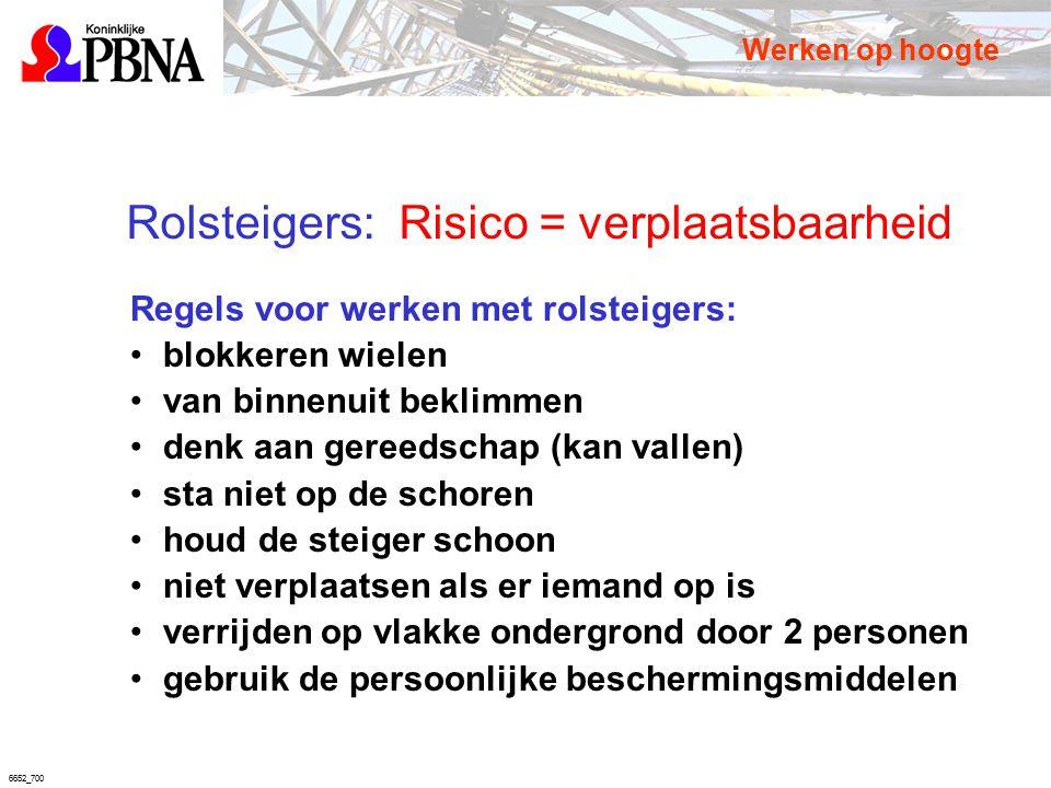 6652_700 Rolsteigers: Risico = verplaatsbaarheid Regels voor werken met rolsteigers: blokkeren wielen van binnenuit beklimmen denk aan gereedschap (ka