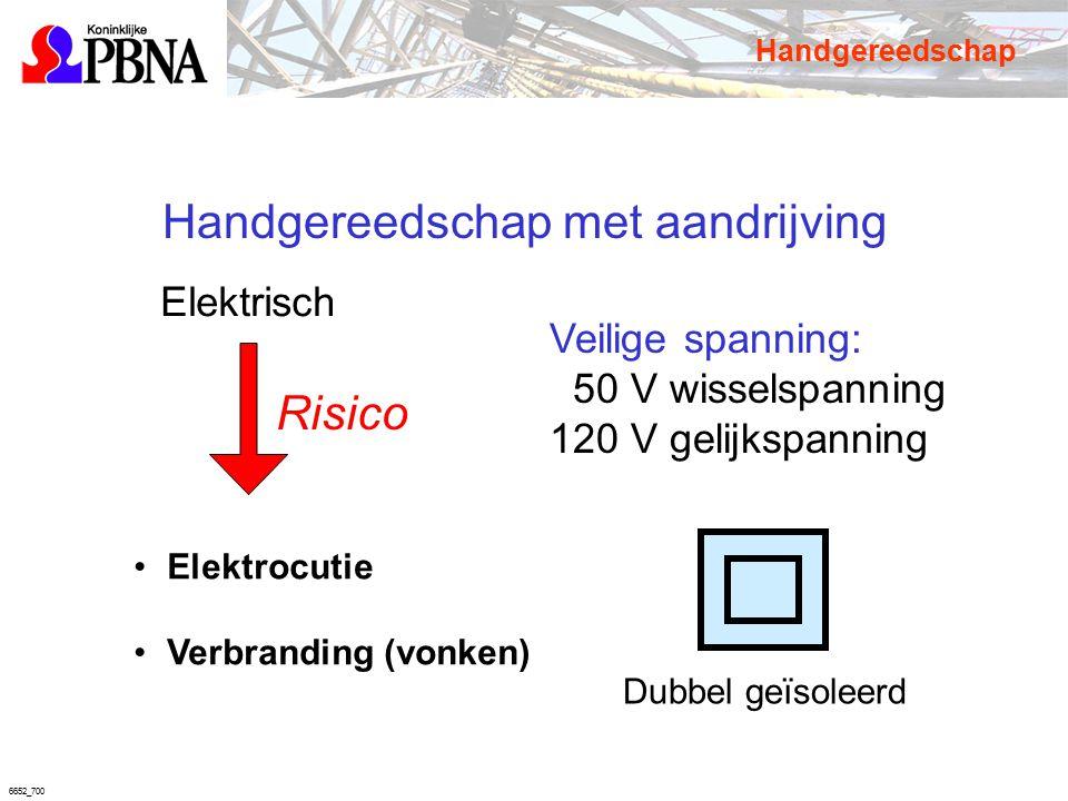 6652_700 Handgereedschap met aandrijving Elektrisch Elektrocutie Verbranding (vonken) Veilige spanning: 50 V wisselspanning 120 V gelijkspanning Dubbe