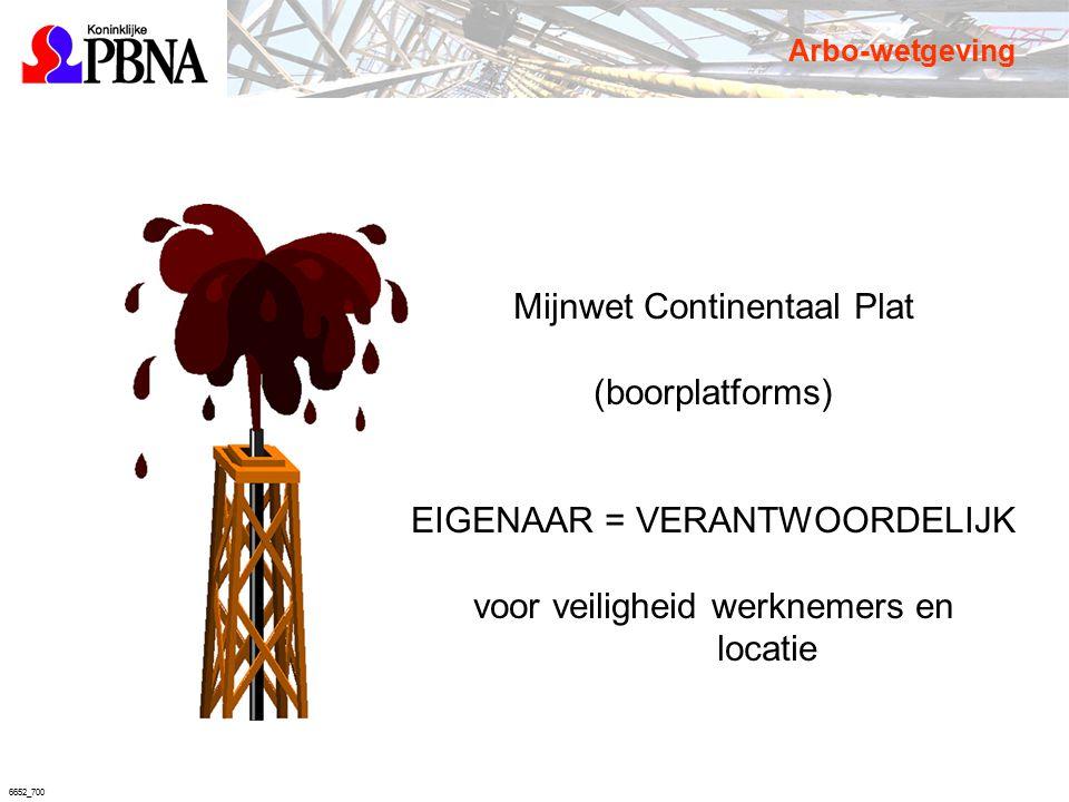6652_700 Mijnwet Continentaal Plat (boorplatforms) EIGENAAR = VERANTWOORDELIJK voor veiligheid werknemers en locatie Arbo-wetgeving
